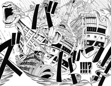 ONE PIECE漫画ガレオン船をまっぷたつ