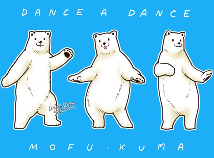 イラスト踊る白クマ