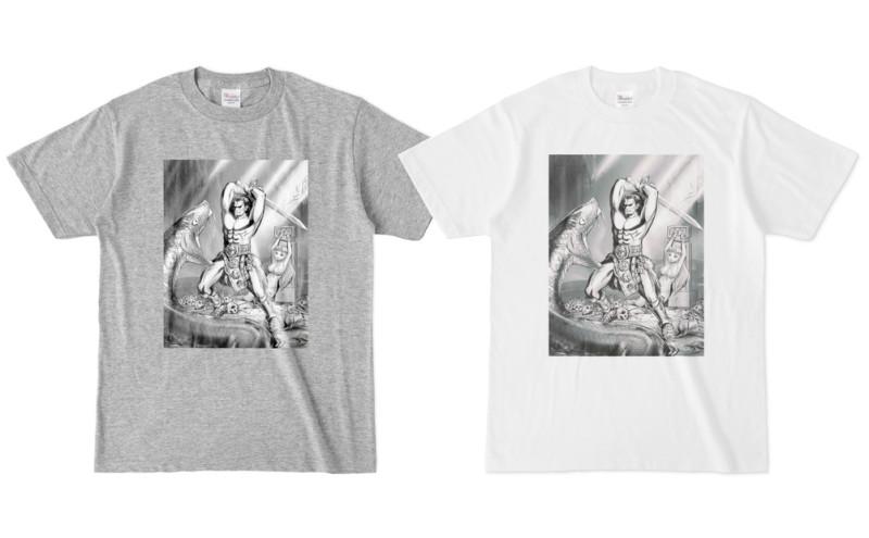 バーバリアン Tシャツ(杢グレー&白)