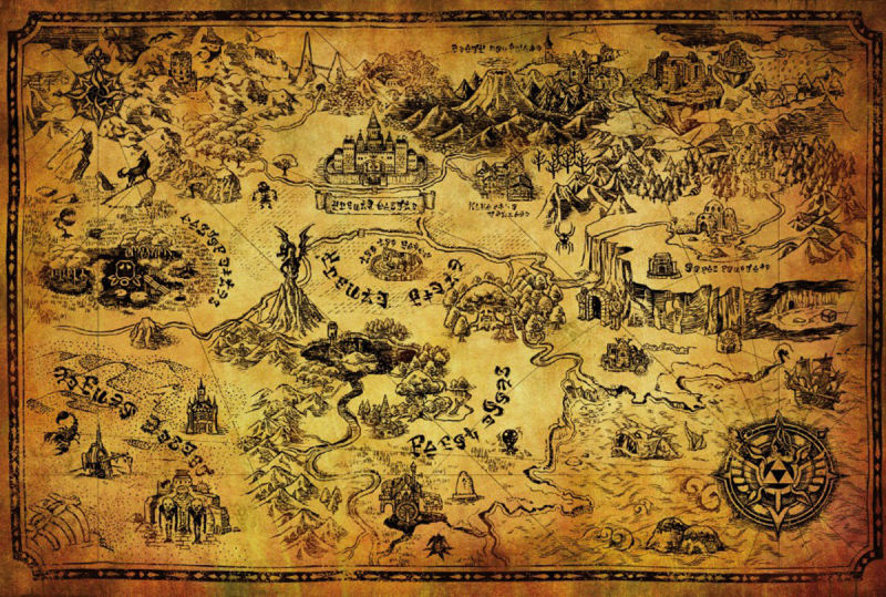THE LEGEND OF ZELDA ゼルダの伝説 - Hyrule Map / ポスター